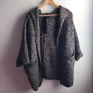 Joe's Jeans gray cocoon hooded cardigan sweater